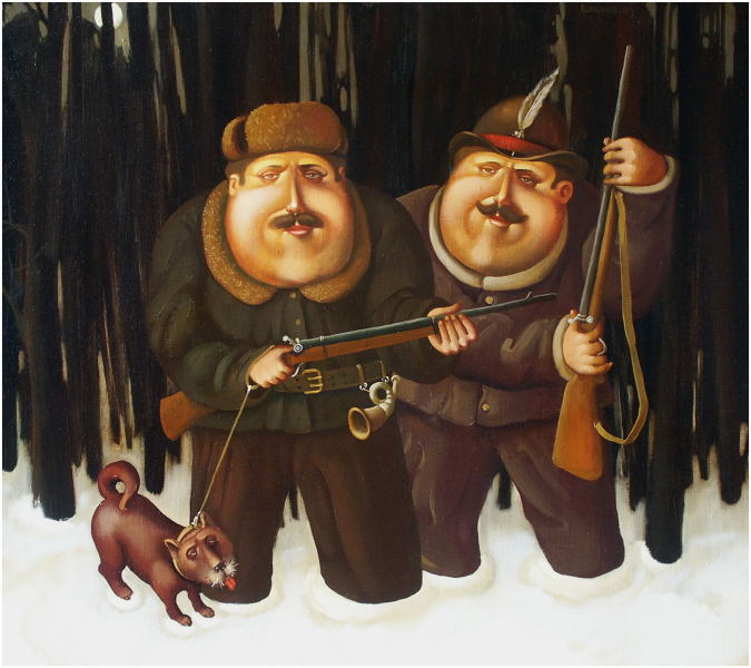 Hunters, 2003, Painter - Ivanov Boris Mikhailovich
